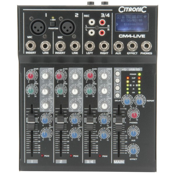 Citronic CM4-LIVE Compact Mixer With Delay & USB / SD Player