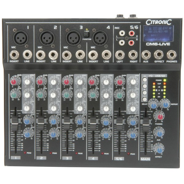 Citronic CM6-LIVE Compact Mixer With Delay & USB / SD Player