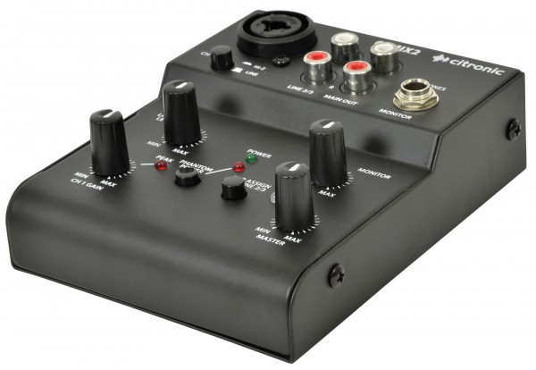 Citronic Q-MIX2 2 Channel USB Powered Compact Mixer