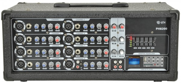 QTX PH8200 PA Powered Mixer Head - 8 Channel, 200W