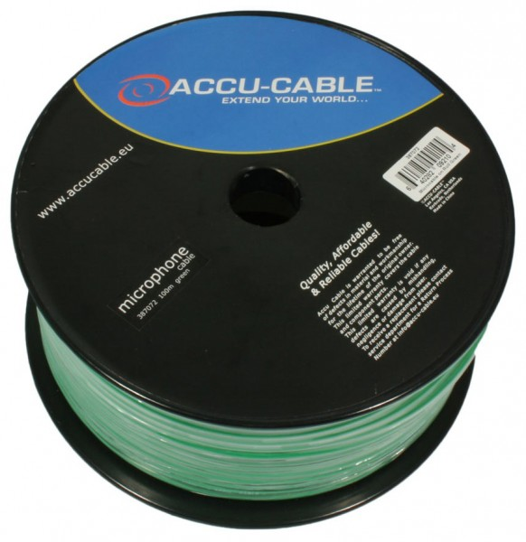 Accu-Cable Professional Shielded Microphone Cable - Green - 100m