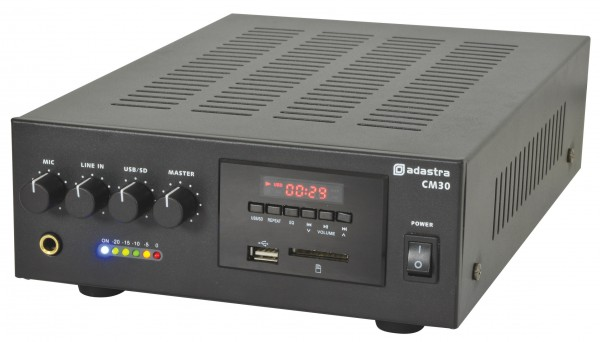 Adastra CM30 30W, Compact PA Mixer Amplifier - 100V Line