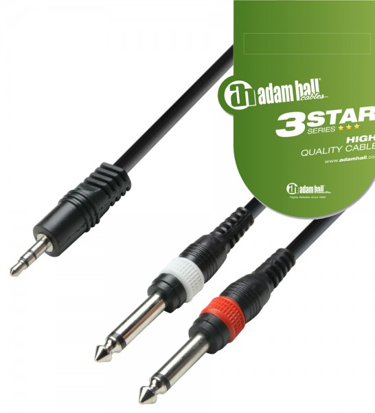 Adam Hall 3.5mm Stereo Jack Plug - 2 x RCA Phono Lead - 3m
