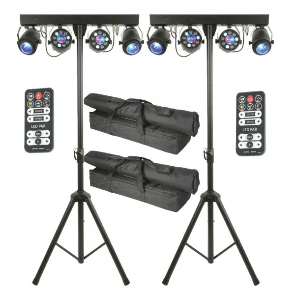 QTX LED Effects Bar – 2 Fireball-Par + 2 Crystal Ball LED Disco Light Effects – PAIR