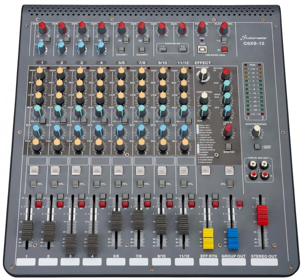Studiomaster C6XS-12 - 12 Channel Compact Mixer With USB & DFX