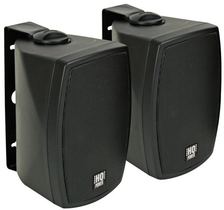 HQP VDSMB14BK 100W Weatherproof Outdoor Music Speakers - Pair